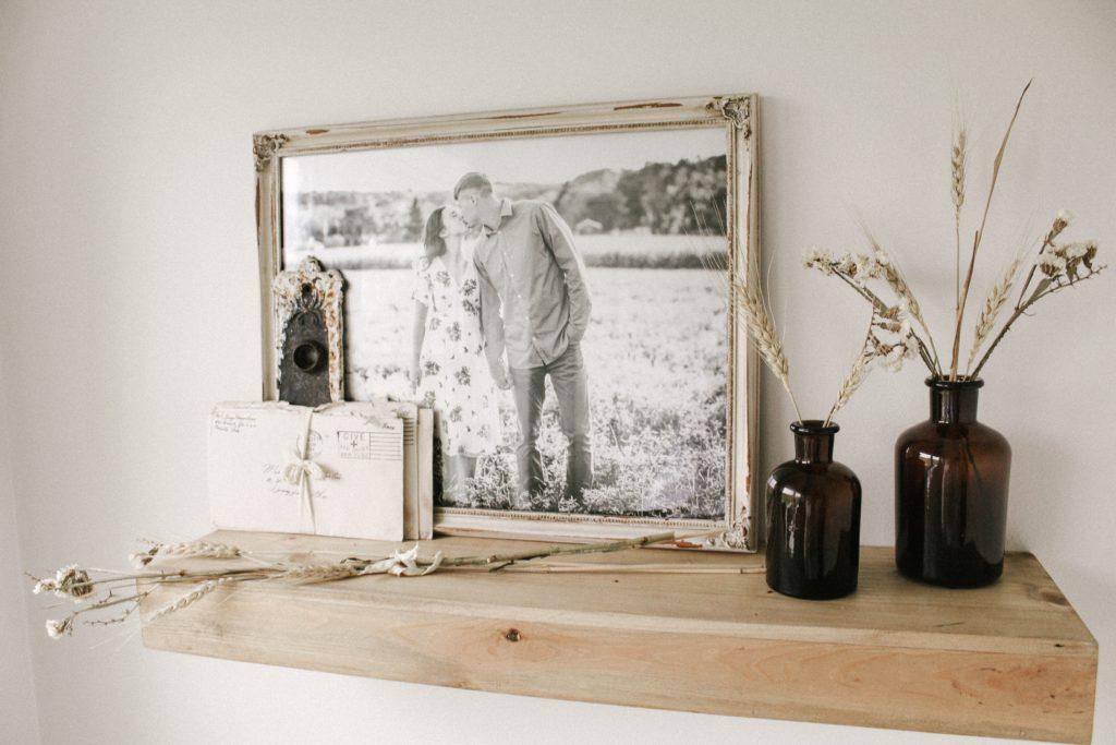 pine shelf in neutral bathroom 1024x683