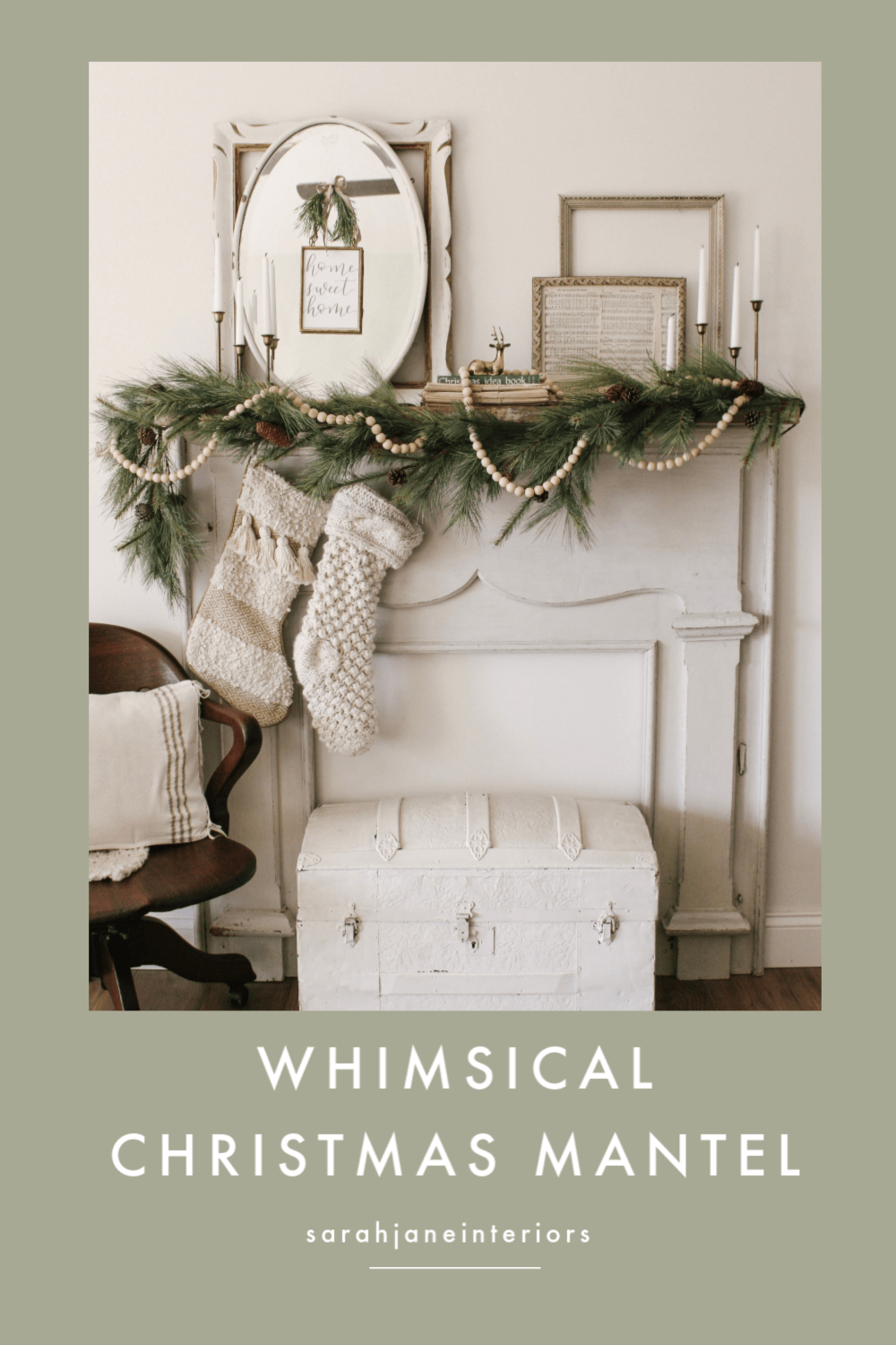 A whimsical winter mantel decorated for christmas