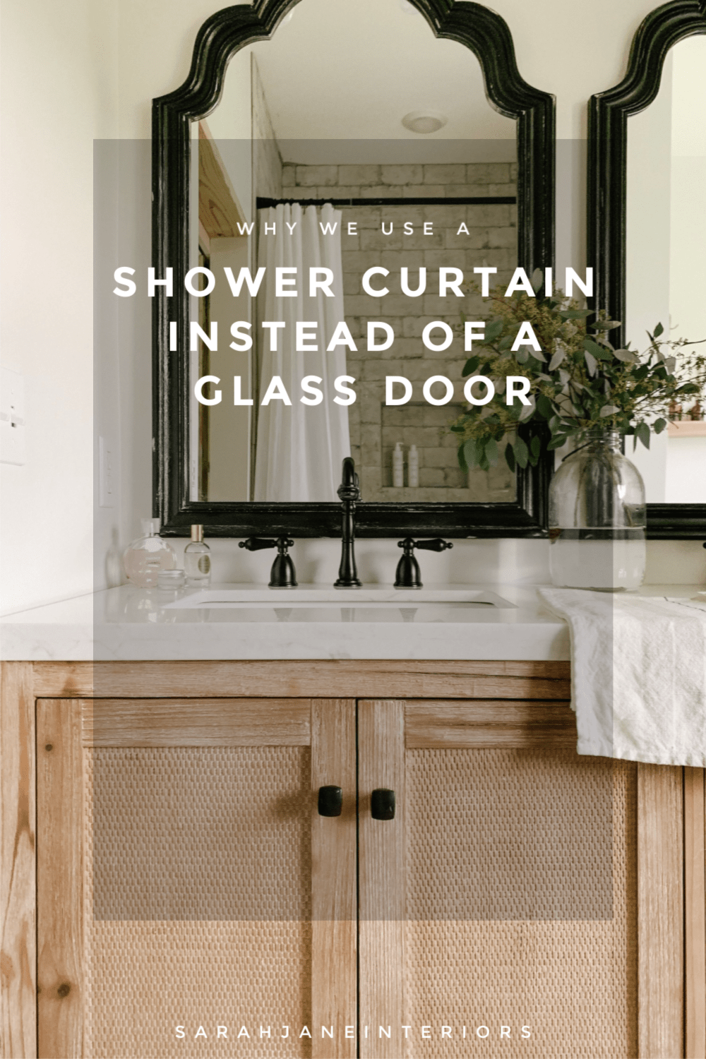 Why We Opted For A Shower Curtain Instead Of A Glass Door Sarah Jane Christy